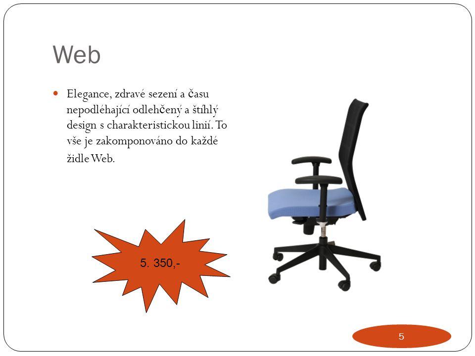 Web Elegance, zdravé sezení a č asu nepodléhající odleh č ený a štíhlý design s charakteristickou linií. To vše je zakomponováno do každé židle Web. 5