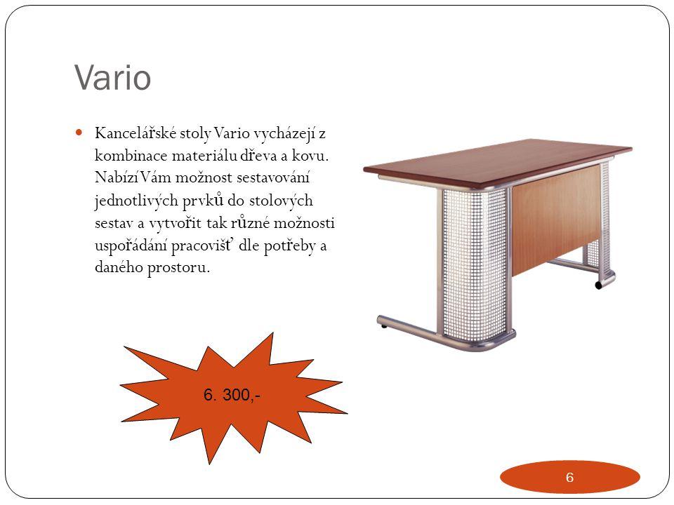 Vario Kancelá ř ské stoly Vario vycházejí z kombinace materiálu d ř eva a kovu. Nabízí Vám možnost sestavování jednotlivých prvk ů do stolových sestav