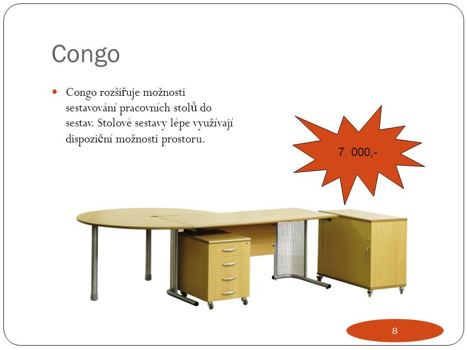 Congo Congo rozši ř uje možnosti sestavování pracovních stol ů do sestav. Stolové sestavy lépe využívají dispozi č ní možnosti prostoru. 7. 000,- 8