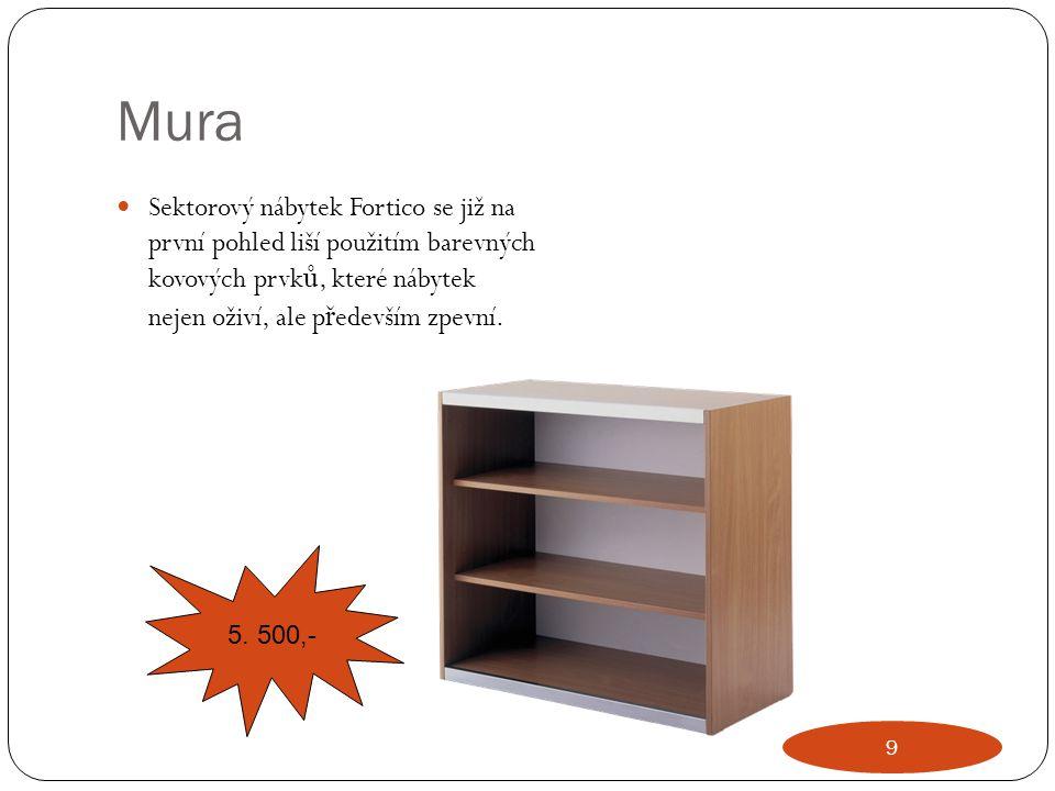 Mura Sektorový nábytek Fortico se již na první pohled liší použitím barevných kovových prvk ů, které nábytek nejen oživí, ale p ř edevším zpevní. 5. 5