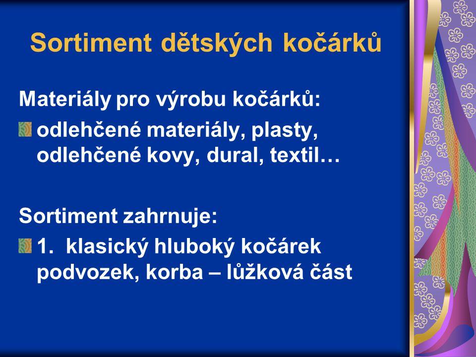 Sortiment dětských kočárků Materiály pro výrobu kočárků: odlehčené materiály, plasty, odlehčené kovy, dural, textil… Sortiment zahrnuje: 1.