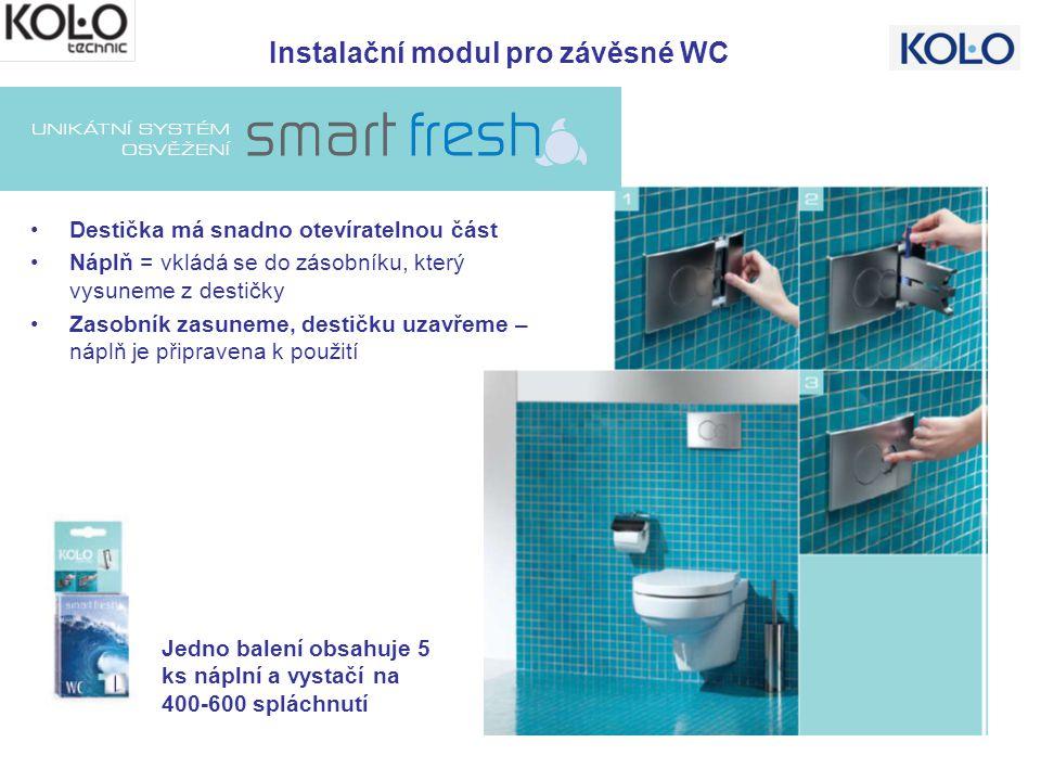 Instalační modul pro závěsné WC Jedno balení obsahuje 5 ks náplní a vystačí na 400-600 spláchnutí Destička má snadno otevíratelnou část Náplň = vkládá