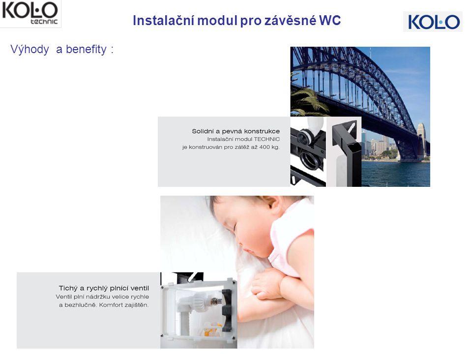 Instalační modul pro závěsné WC Výhody a benefity : Splachování 3/6 l s možností nastavení na 2/4 l