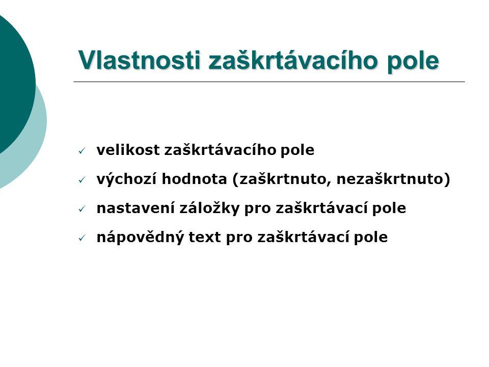Dialogové okno Možnosti textového pole formuláře
