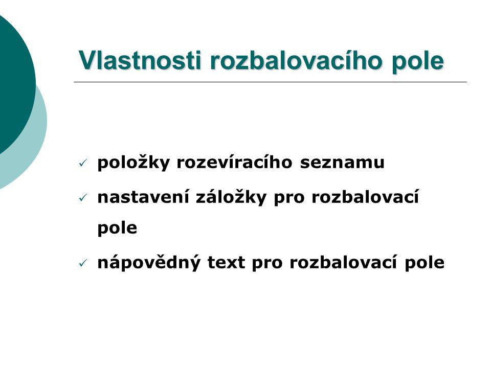 Dialogové okno Možnosti zaškrtávacího políčka formuláře