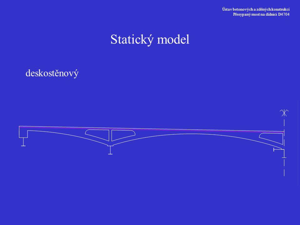Ústav betonových a zděných konstrukcí Přesypaný most na dálnici D4704 Statický model deskostěnový