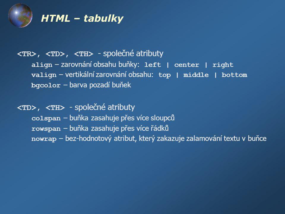 HTML – tabulky,, - společné atributy align – zarovnání obsahu buňky: left | center | right valign – vertikální zarovnání obsahu: top | middle | bottom