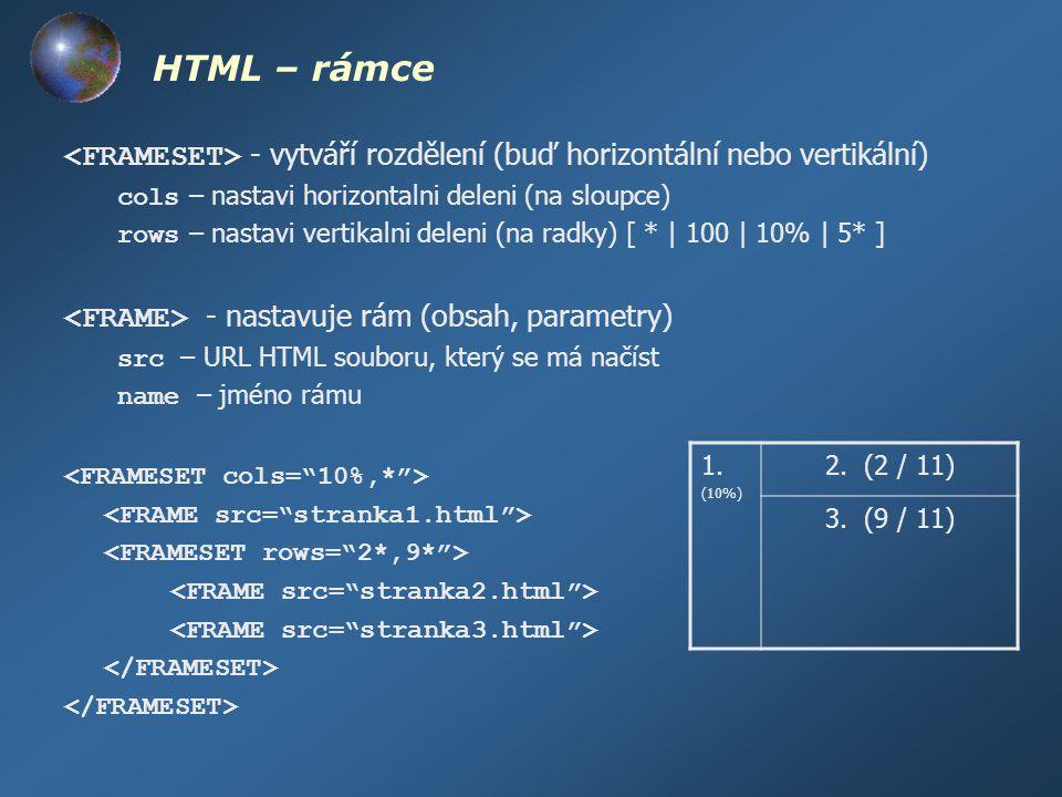HTML – rámce - vytváří rozdělení (buď horizontální nebo vertikální) cols – nastavi horizontalni deleni (na sloupce) rows – nastavi vertikalni deleni (