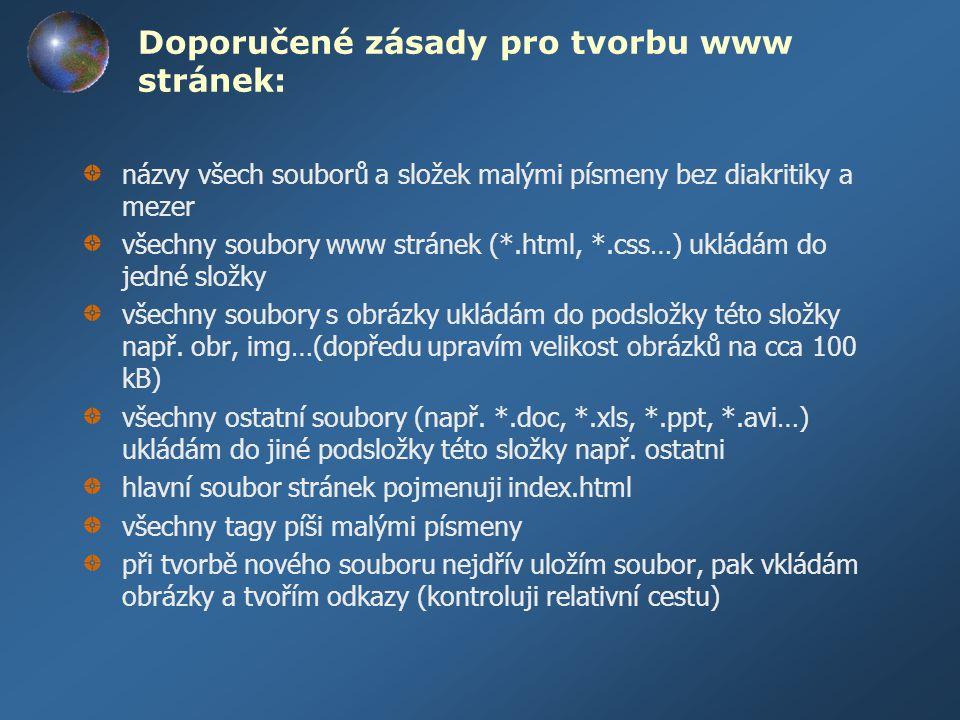 Doporučené zásady pro tvorbu www stránek: názvy všech souborů a složek malými písmeny bez diakritiky a mezer všechny soubory www stránek (*.html, *.cs