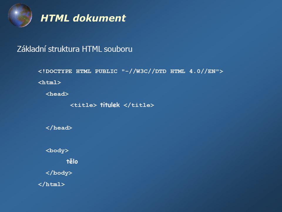 hlavička dokumentu (uvnitř )  název dokumentu  - (meta)informace o dokumentu  - nastavení výchozího fontu pro celý dokument  - skripty v Java scriptu, nebo Visual Basic scriptu  - třídy CSS stylů