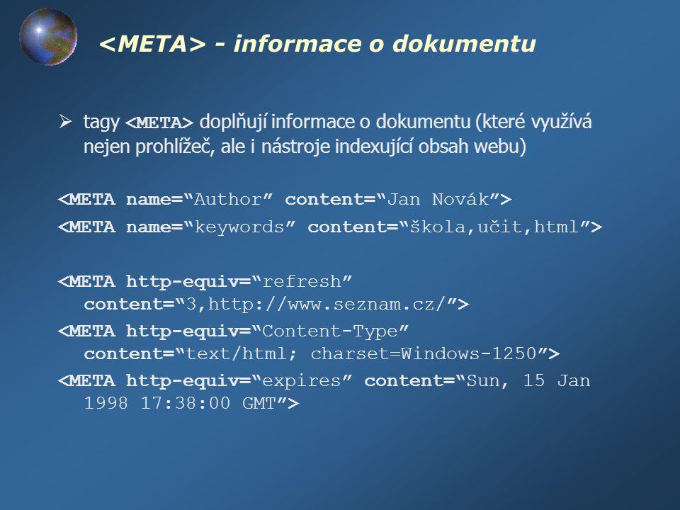Tělo dokumentu – parametry  pomocí atributů tagu lze nastavit barvy písma a pozadí a některé další základní parametry zobrazení dokumentu background – URL obrázku na pozadí bgcolor – barva pozadí text – brava textu link – barva hypertextových odkazů alink – (active link) barva aktivního hypertextového odkazu vlink – (visited link) barva navštíveného hypertext.