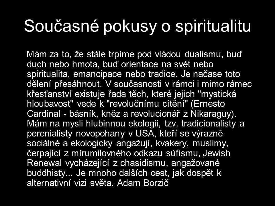 Současné pokusy o spiritualitu Mám za to, že stále trpíme pod vládou dualismu, buď duch nebo hmota, buď orientace na svět nebo spiritualita, emancipace nebo tradice.