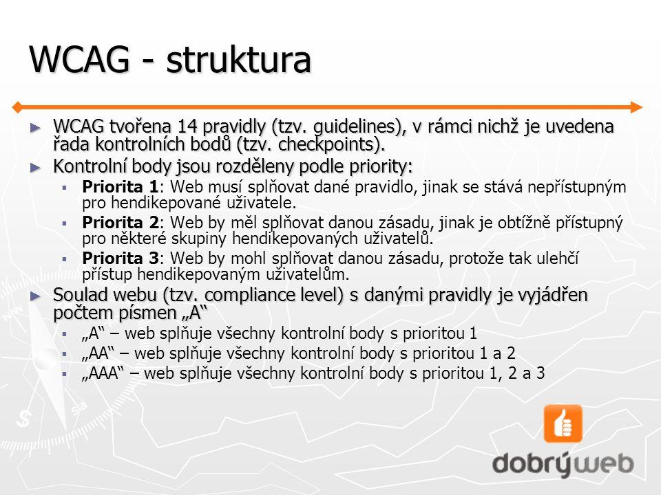 WCAG - struktura ► WCAG tvořena 14 pravidly (tzv.