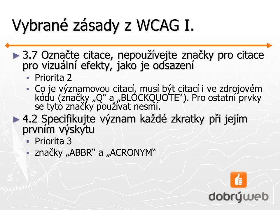 Vybrané zásady z WCAG I.