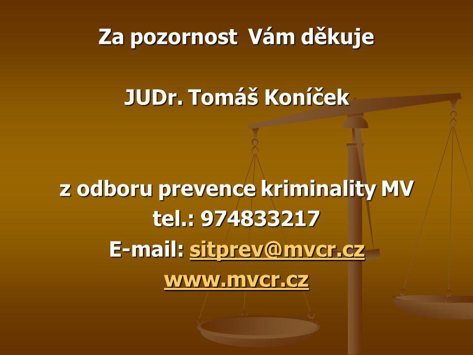 Za pozornost Vám děkuje JUDr. Tomáš Koníček z odboru prevence kriminality MV tel.: 974833217 E-mail: sitprev@mvcr.cz sitprev@mvcr.cz www.mvcr.cz