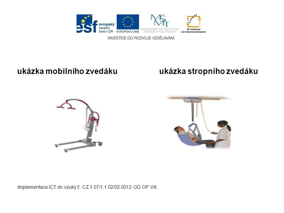 ukázka mobilního zvedákuukázka stropního zvedáku Implementace ICT do výuky č. CZ.1.07/1.1.02/02.0012 GG OP VK