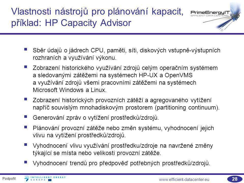 Podpořil: www.efficient-datacenter.eu 28 Vlastnosti nástrojů pro plánování kapacit, příklad: HP Capacity Advisor  Sběr údajů o jádrech CPU, paměti, s