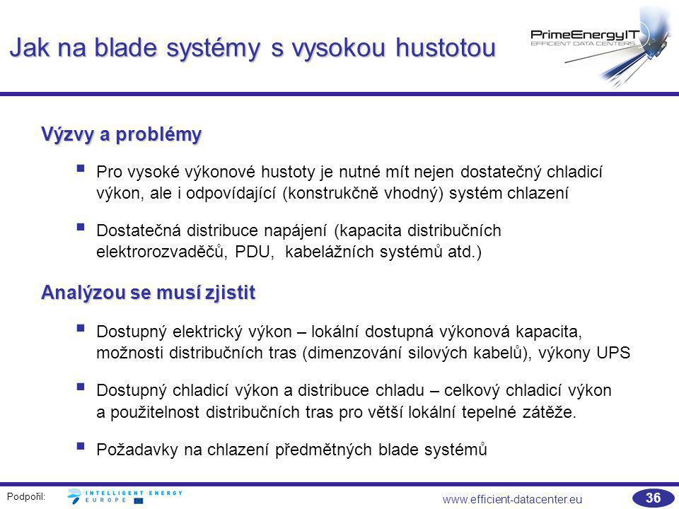 Podpořil: www.efficient-datacenter.eu 36 Jak na blade systémy s vysokou hustotou Výzvy a problémy  Pro vysoké výkonové hustoty je nutné mít nejen dos