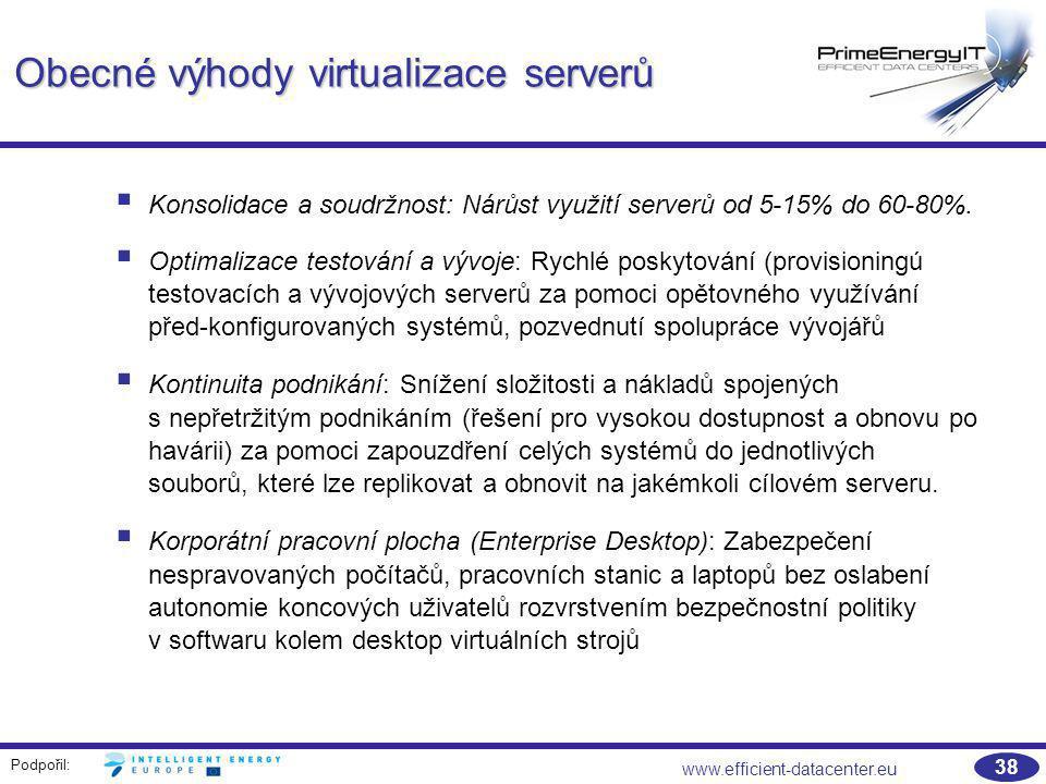 Podpořil: www.efficient-datacenter.eu 38 Obecné výhody virtualizace serverů  Konsolidace a soudržnost: Nárůst využití serverů od 5-15% do 60-80%.  O