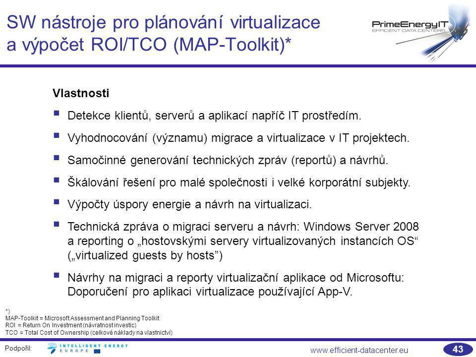 Podpořil: www.efficient-datacenter.eu 43 SW nástroje pro plánování virtualizace a výpočet ROI/TCO (MAP-Toolkit)* Vlastnosti  Detekce klientů, serverů