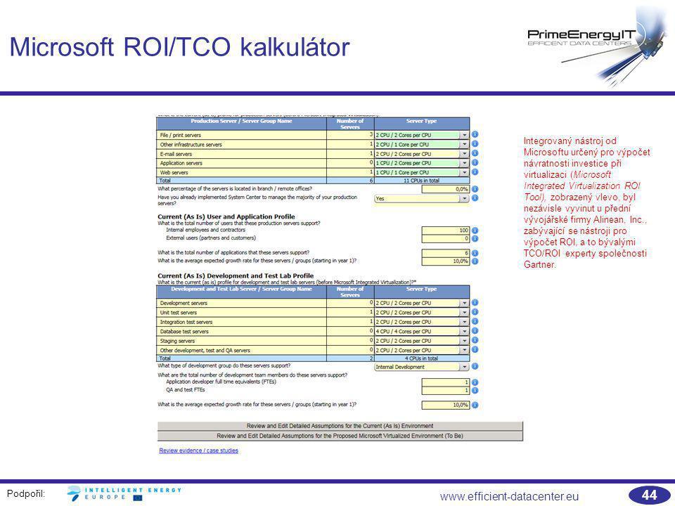 Podpořil: www.efficient-datacenter.eu 44 Microsoft ROI/TCO kalkulátor Integrovaný nástroj od Microsoftu určený pro výpočet návratnosti investice při v