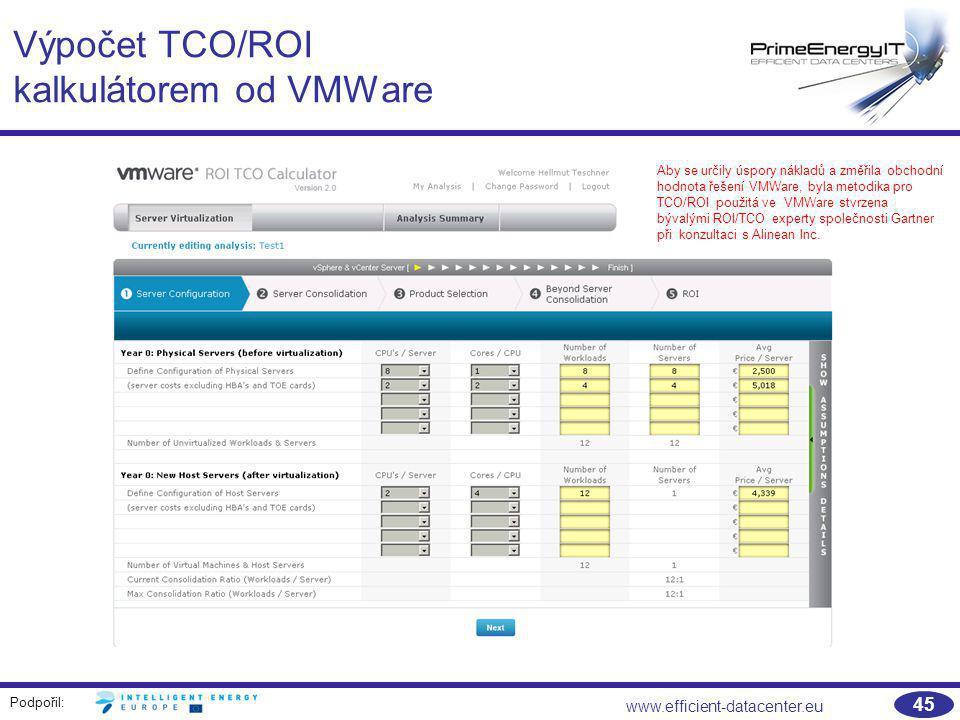 Podpořil: www.efficient-datacenter.eu 45 Výpočet TCO/ROI kalkulátorem od VMWare Aby se určily úspory nákladů a změřila obchodní hodnota řešení VMWare,