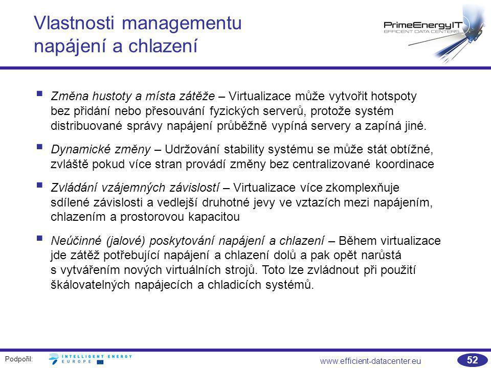 Podpořil: www.efficient-datacenter.eu 52 Vlastnosti managementu napájení a chlazení  Změna hustoty a místa zátěže – Virtualizace může vytvořit hotspo