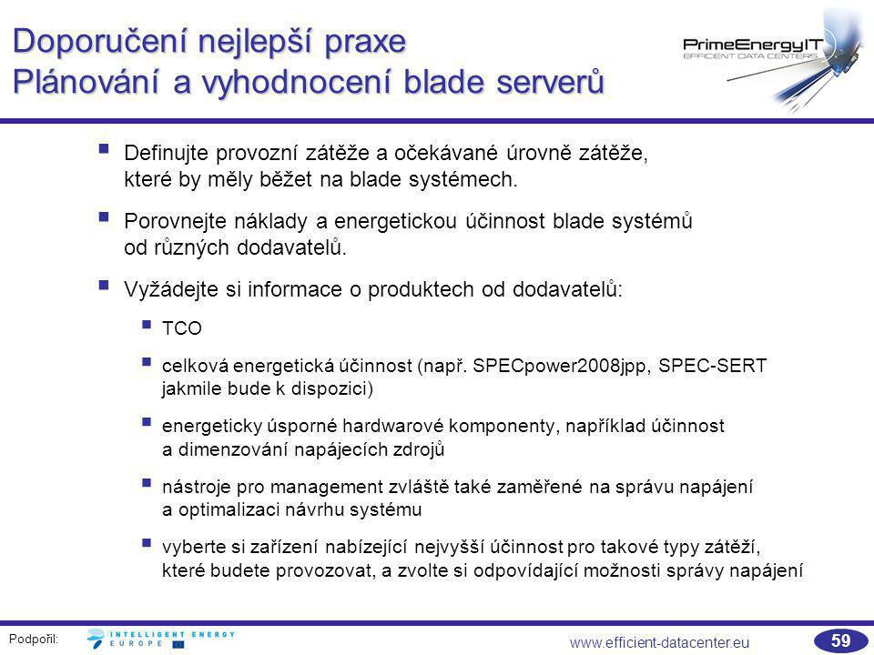Podpořil: www.efficient-datacenter.eu 59 Doporučení nejlepší praxe Plánování a vyhodnocení blade serverů  Definujte provozní zátěže a očekávané úrovn