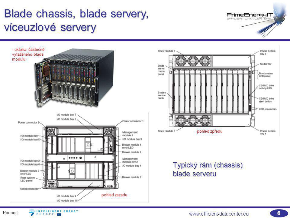 Podpořil: www.efficient-datacenter.eu 37 Návrh blade systémů a jejich chlazení na úrovni datového centra Počet blade chassis v IT rozvaděči Rozptýlení zátěže mezi rozvaděči Vyhrazená chladicí kapacita Přídavné chlazeníZóna s vysokou výkonovou hustotou Datové centrum s vysokou výkonovou hustotou 1Možné ve většině DC Nákladově neefektivní 2Zřídkakdy praktické Možné ve většině DC Nákladově neefektivní 3Nelze Možné ve většině DC Možné ve většině DC, závisí na konkrétním řešení Maximum pro energeticky optimalizované systémy se zvýšenou podlahou Nákladově neefektivní 4 Nelze Zřídkakdy praktické Závisí na konkrétním řešení Systémy odsávající horký vzduch Odsávání horkého vzduchu, nový návrh místnosti 5 Nelze Systémy odsávající horký vzduch Odsávání horkého vzduchu, nový návrh místnosti 6 Nelze Extrémní náklady