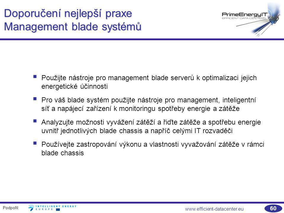 Podpořil: www.efficient-datacenter.eu 60 Doporučení nejlepší praxe Management blade systémů  Použijte nástroje pro management blade serverů k optimal