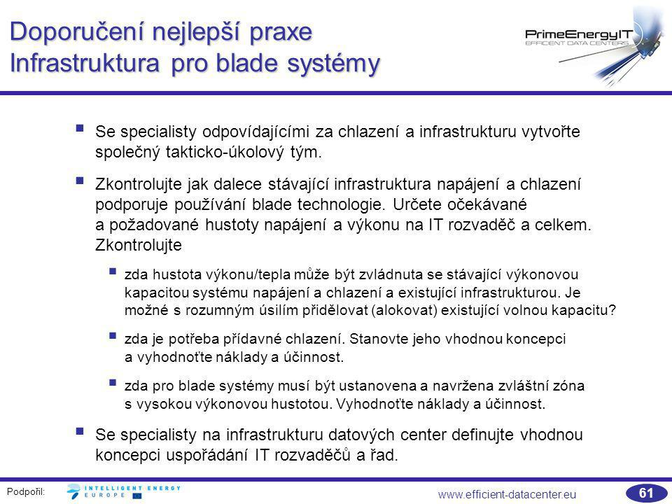 Podpořil: www.efficient-datacenter.eu 61 Doporučení nejlepší praxe Infrastruktura pro blade systémy  Se specialisty odpovídajícími za chlazení a infr