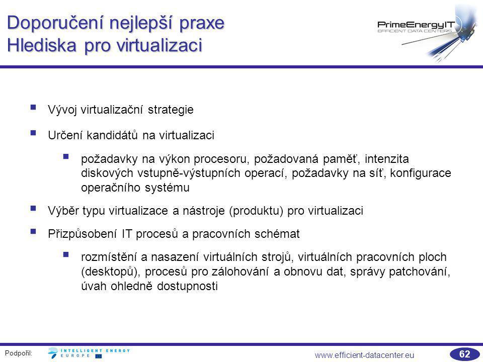 Podpořil: www.efficient-datacenter.eu 62 Doporučení nejlepší praxe Hlediska pro virtualizaci  Vývoj virtualizační strategie  Určení kandidátů na vir