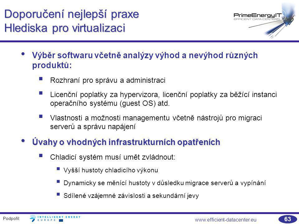Podpořil: www.efficient-datacenter.eu 63 Doporučení nejlepší praxe Hlediska pro virtualizaci Výběr softwaru včetně analýzy výhod a nevýhod různých pro