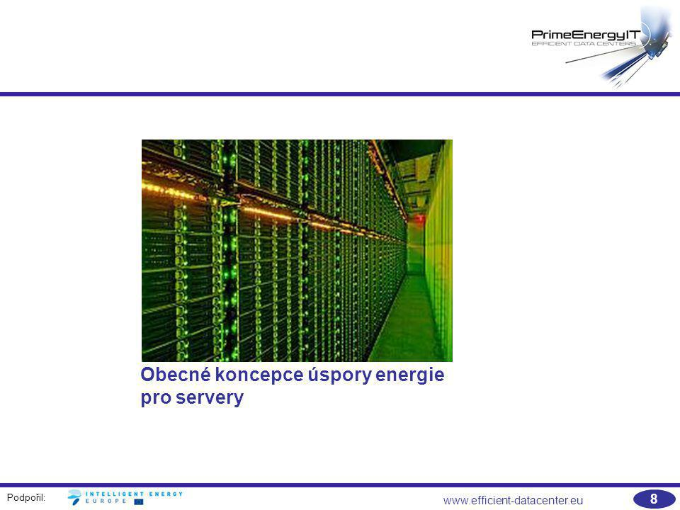 Podpořil: www.efficient-datacenter.eu 29 Vlastnosti nástrojů pro správu napájení, příklad: Active Energy Manager IBM  Monitoring a logování údajů o spotřebě energie  Správa napájení včetně  Nastavení voleb pro úsporu energie  Nastavení zastropování výkonu  Automatizace úloh souvisejících s napájením  Konfigurace měřicích zařízení, např.