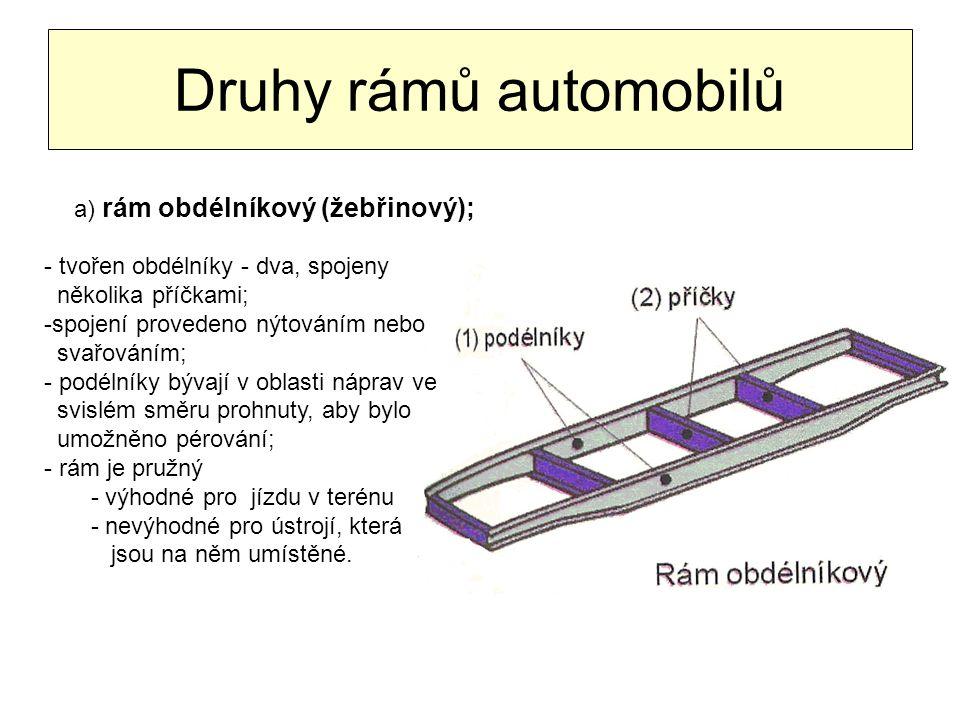 Druhy rámů automobilů a) rám obdélníkový (žebřinový); - tvořen obdélníky - dva, spojeny několika příčkami; -spojení provedeno nýtováním nebo svařování