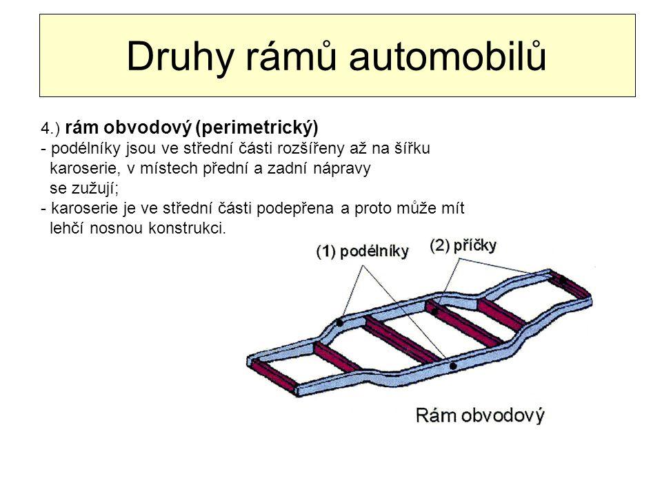 Druhy rámů automobilů 4.) rám obvodový (perimetrický) - podélníky jsou ve střední části rozšířeny až na šířku karoserie, v místech přední a zadní nápr