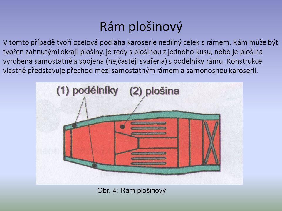 Rám plošinový V tomto případě tvoří ocelová podlaha karoserie nedílný celek s rámem. Rám může být tvořen zahnutými okraji plošiny, je tedy s plošinou