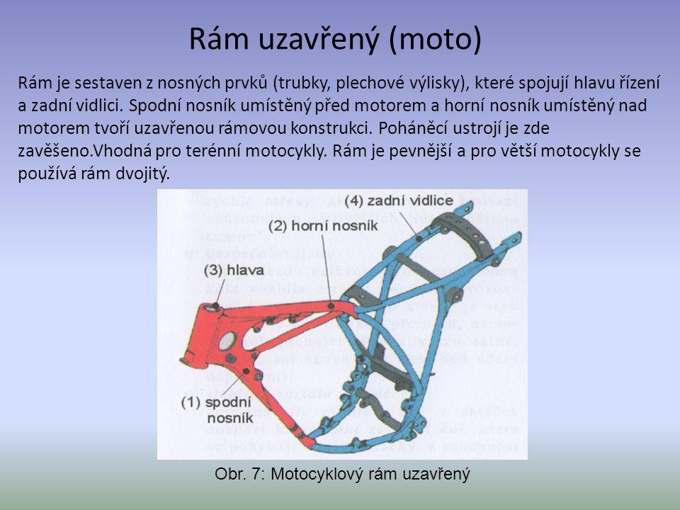 Rám uzavřený (moto) Rám je sestaven z nosných prvků (trubky, plechové výlisky), které spojují hlavu řízení a zadní vidlici. Spodní nosník umístěný pře