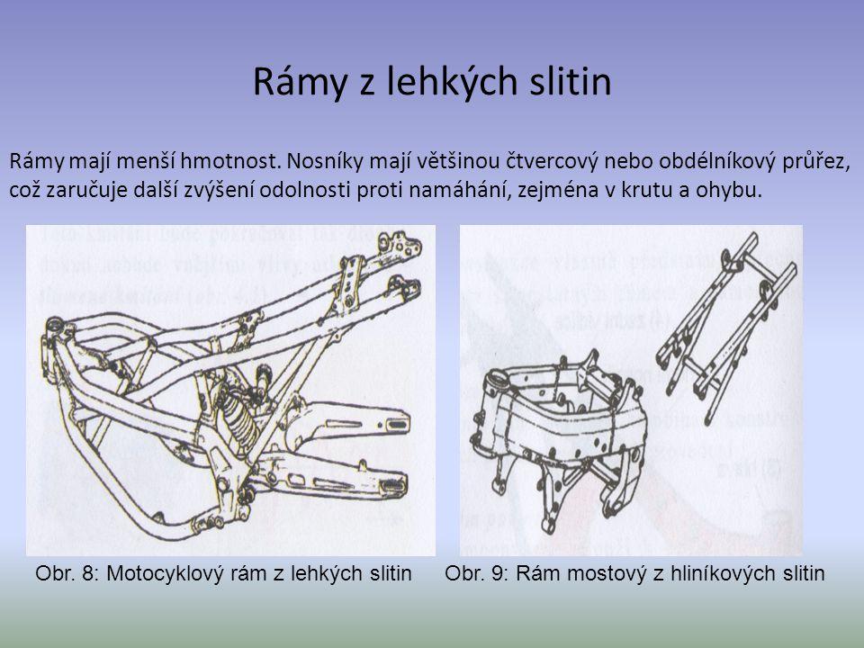 Rámy z lehkých slitin Rámy mají menší hmotnost. Nosníky mají většinou čtvercový nebo obdélníkový průřez, což zaručuje další zvýšení odolnosti proti na