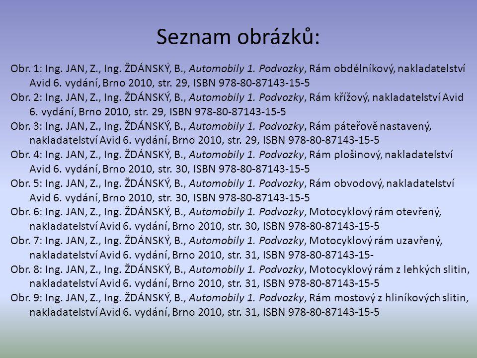 Seznam obrázků: Obr. 1: Ing. JAN, Z., Ing. ŽDÁNSKÝ, B., Automobily 1. Podvozky, Rám obdélníkový, nakladatelství Avid 6. vydání, Brno 2010, str. 29, IS