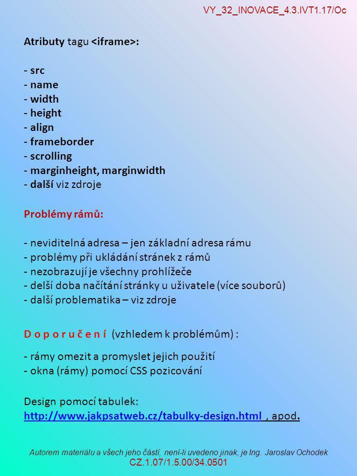 VY_32_INOVACE_4.3.IVT1.17/Oc Autorem materiálu a všech jeho částí, není-li uvedeno jinak, je Ing. Jaroslav Ochodek CZ.1.07/1.5.00/34.0501 Problémy rám