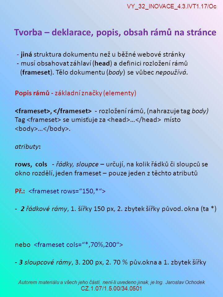 VY_32_INOVACE_4.3.IVT1.17/Oc Autorem materiálu a všech jeho částí, není-li uvedeno jinak, je Ing. Jaroslav Ochodek CZ.1.07/1.5.00/34.0501 Tvorba – dek