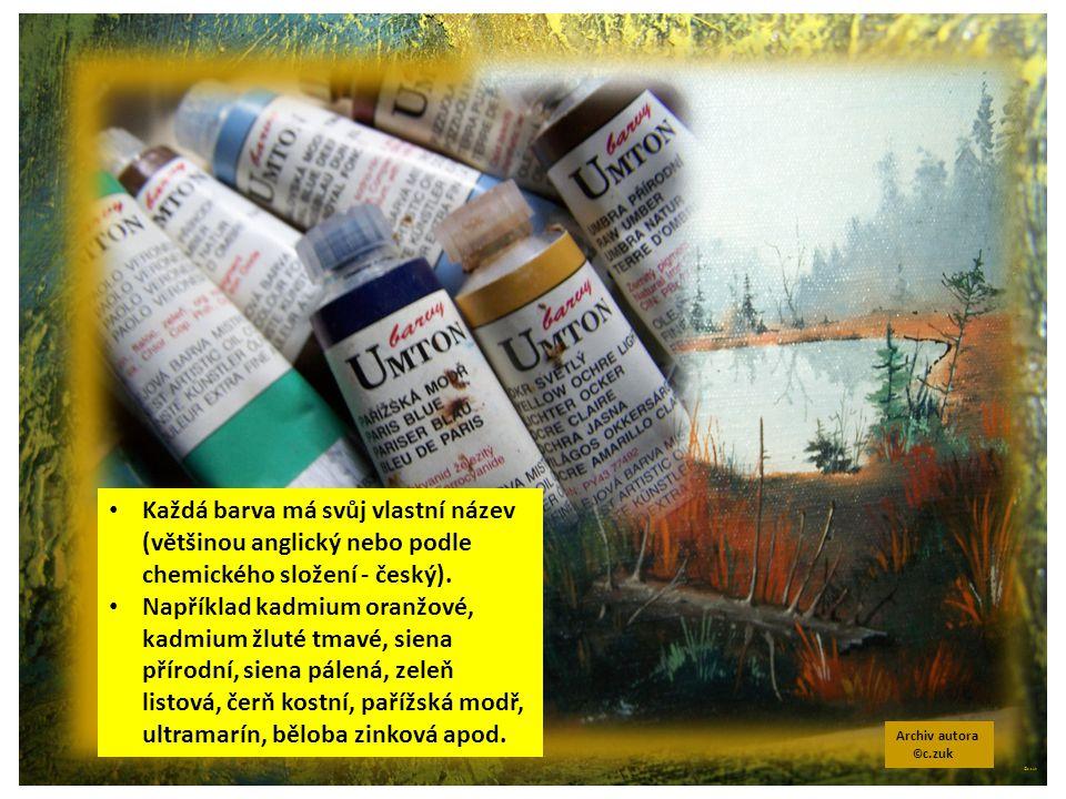 ©c.zuk Archiv autora © c.zuk Každá barva má svůj vlastní název (většinou anglický nebo podle chemického složení - český). Například kadmium oranžové,