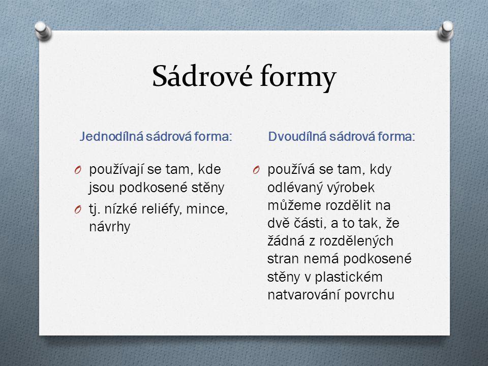 Sádrové formy Jednodílná sádrová forma: Dvoudílná sádrová forma: O používají se tam, kde jsou podkosené stěny O tj.