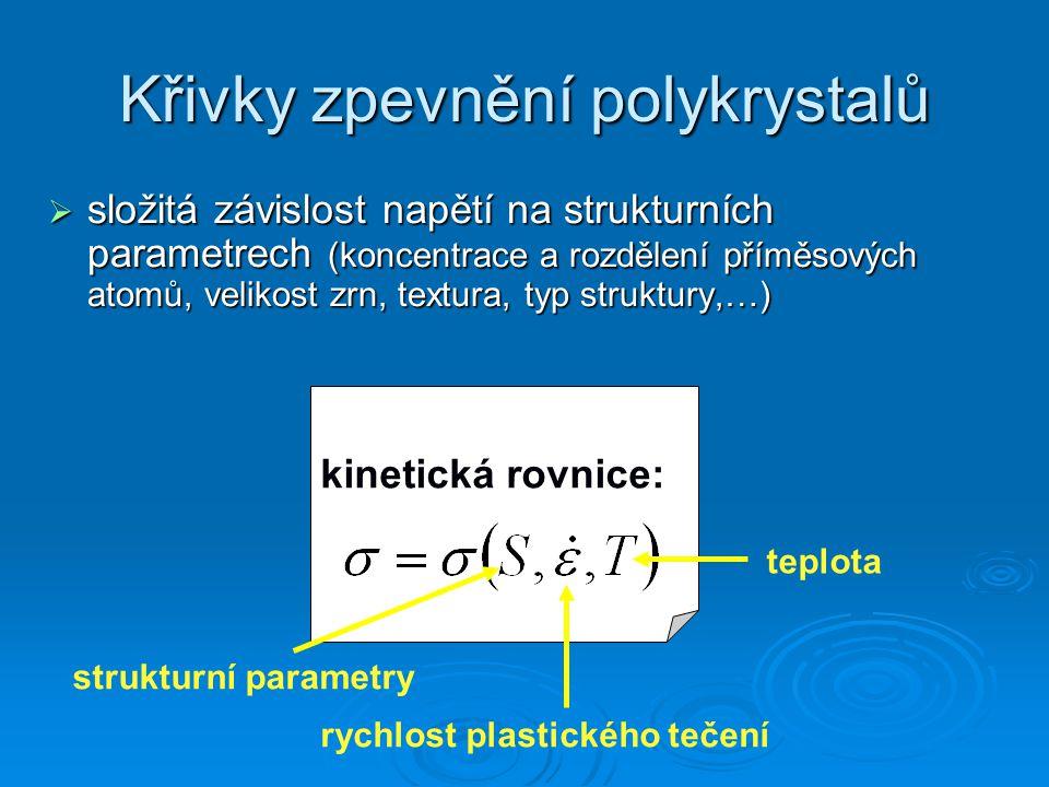 Křivky zpevnění polykrystalů  složitá závislost napětí na strukturních parametrech (koncentrace a rozdělení příměsových atomů, velikost zrn, textura,