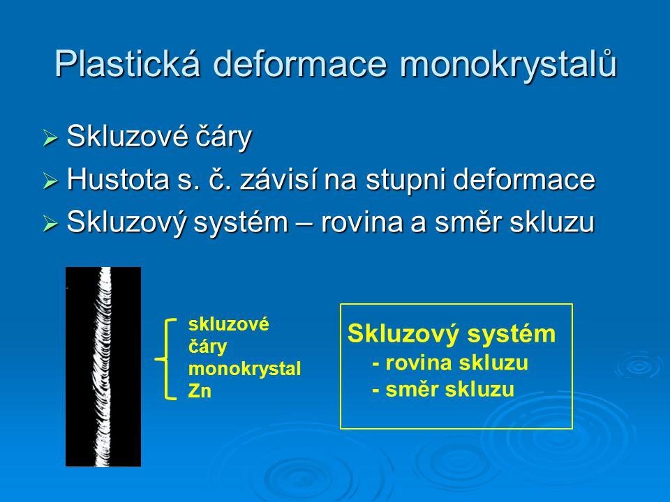 Plastická deformace monokrystalů  Skluzové čáry  Hustota s. č. závisí na stupni deformace  Skluzový systém – rovina a směr skluzu skluzové čáry mon