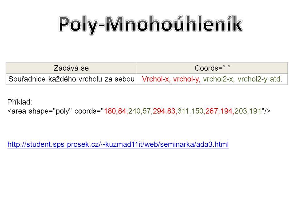 """Příklad: http://student.sps-prosek.cz/~kuzmad11it/web/seminarka/ada3.html Zadává seCoords="""" """" Souřadnice každého vrcholu za sebouVrchol-x, vrchol-y, v"""