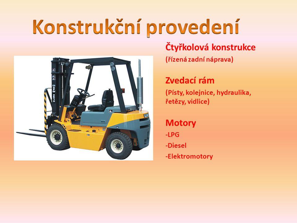 Čtyřkolová konstrukce (řízená zadní náprava) Zvedací rám (Písty, kolejnice, hydraulika, řetězy, vidlice) Motory -LPG -Diesel -Elektromotory