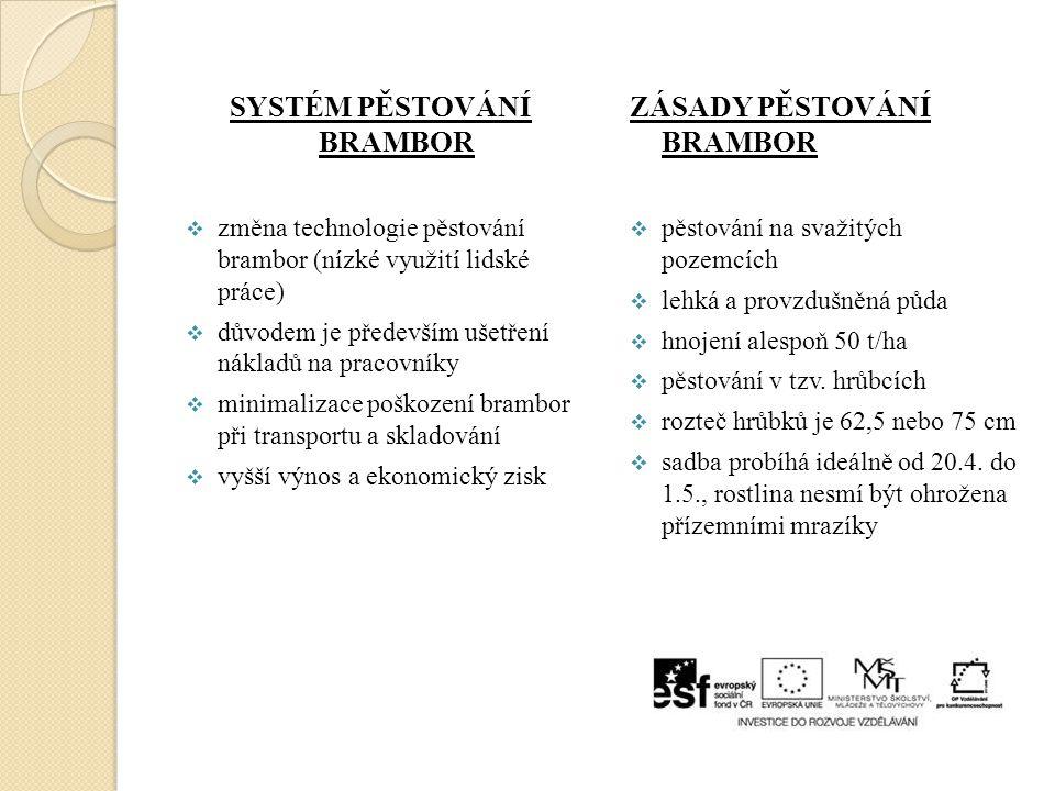SYSTÉM PĚSTOVÁNÍ BRAMBOR  změna technologie pěstování brambor (nízké využití lidské práce)  důvodem je především ušetření nákladů na pracovníky  mi