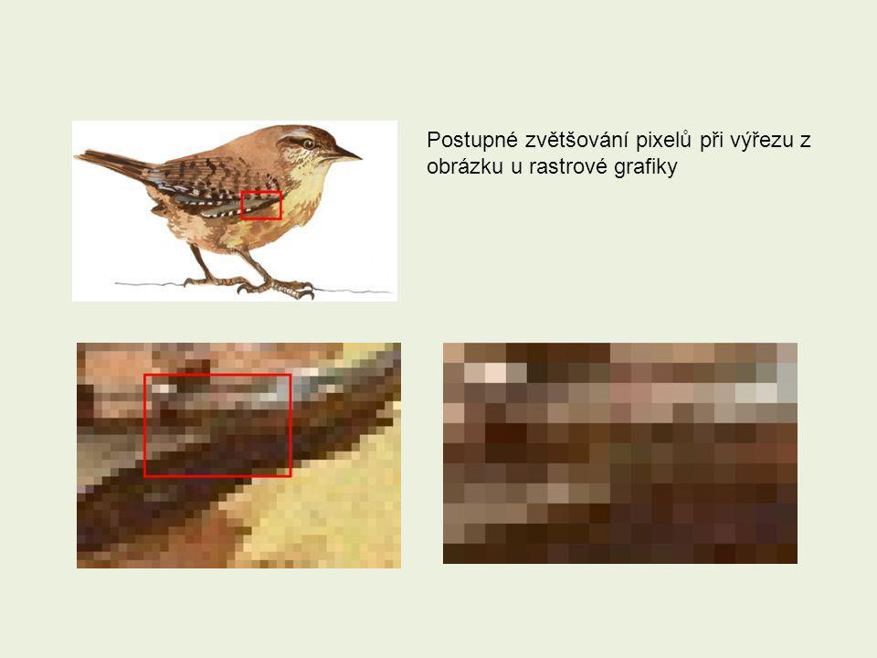 Postupné zvětšování pixelů při výřezu z obrázku u rastrové grafiky